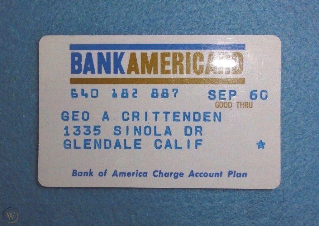 Первый дизайн карты BankAmericard в 1958 году / 1958 BankAmericard Credit Card, The First Style