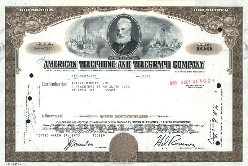 Сертификат на акции AT&T 1970 г. (фото из файла THG)