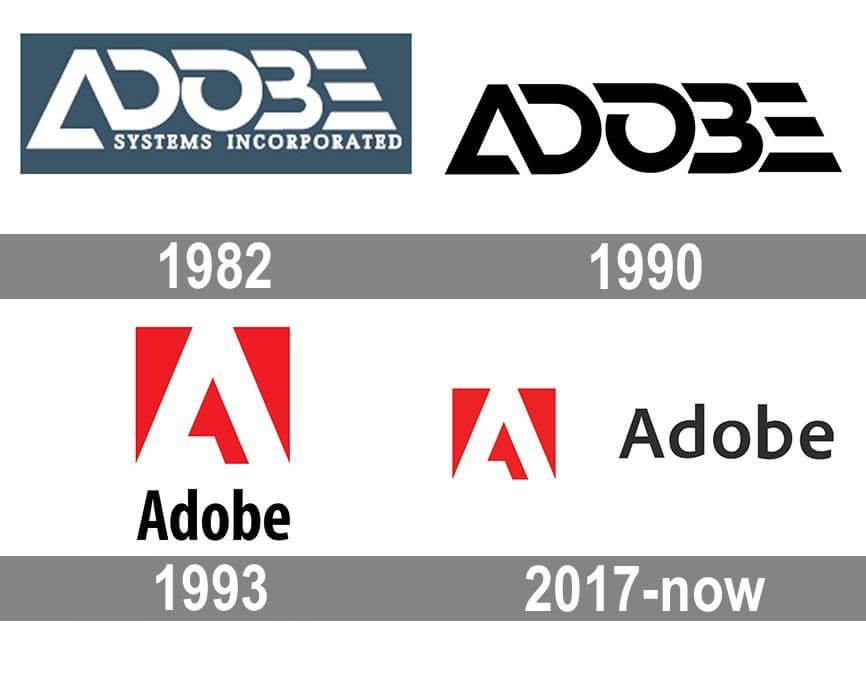 Как менялся логотип компании Adobe с 1982 по настоящее время.