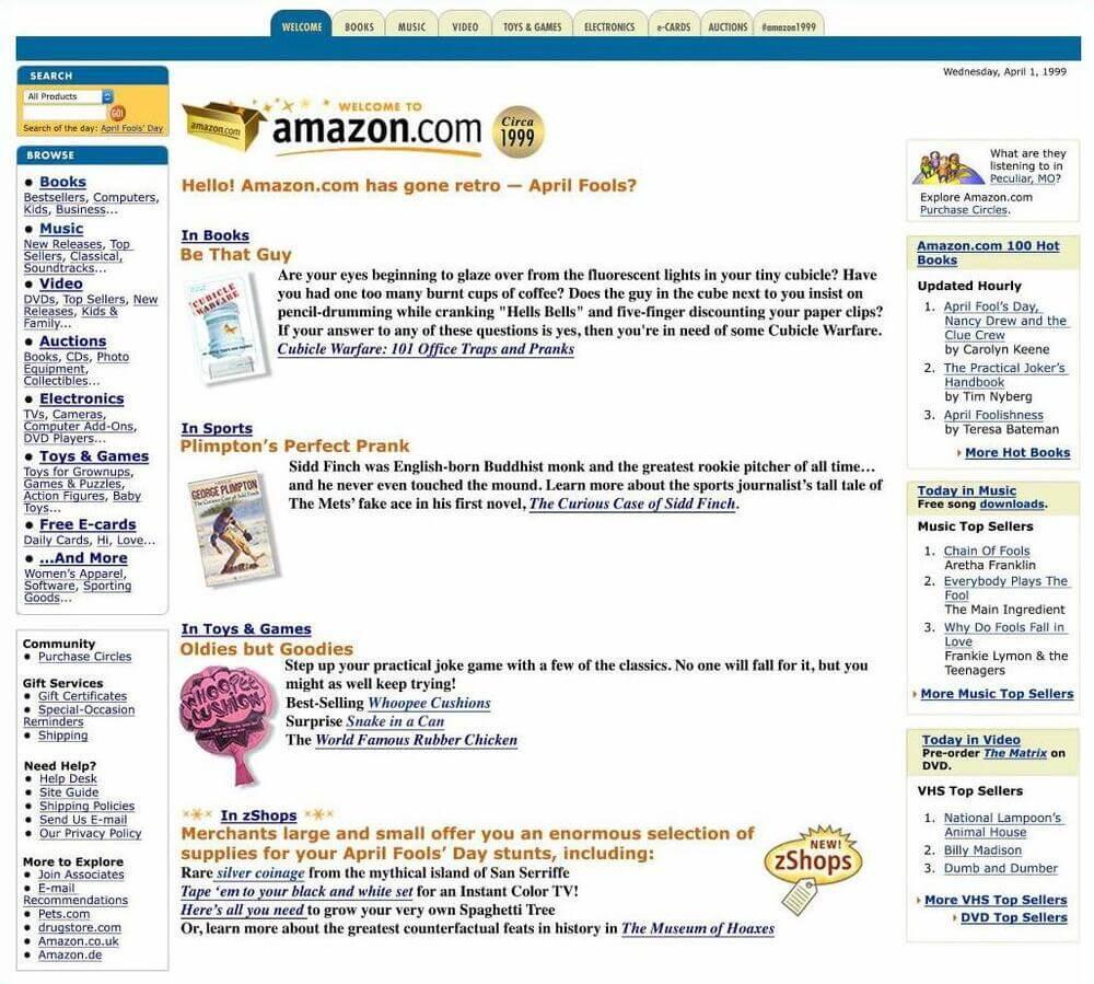 В 2015 году, Компания Amazom.com решила на день дурака (1 апреля) вернуть свой дизайн главной страницы в тот вид, как она выглядела в 1999 году.