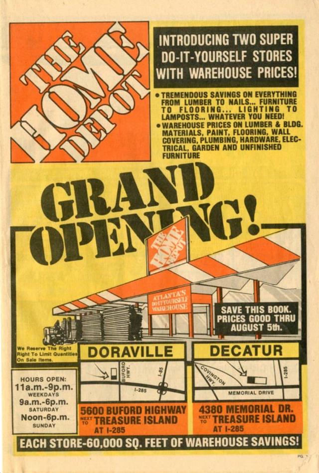 Home Depot Grand Opening Flyer from 1978 / Рекламный флаер об открытии магазина The Home Depot в 1978 году