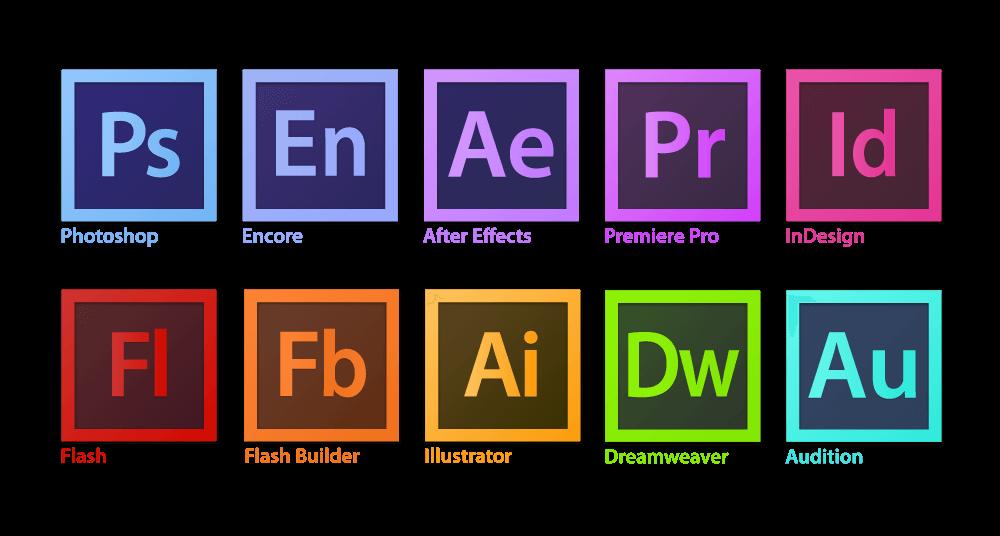 Логотипы линейки продуктов компании Adobe