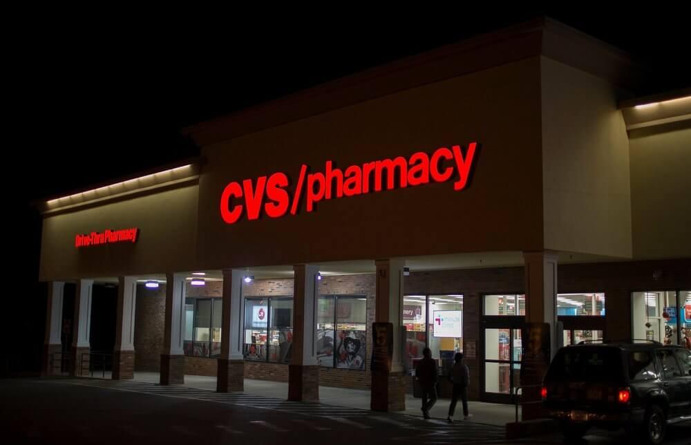 Ночная подсветка на здании CVS Corporation