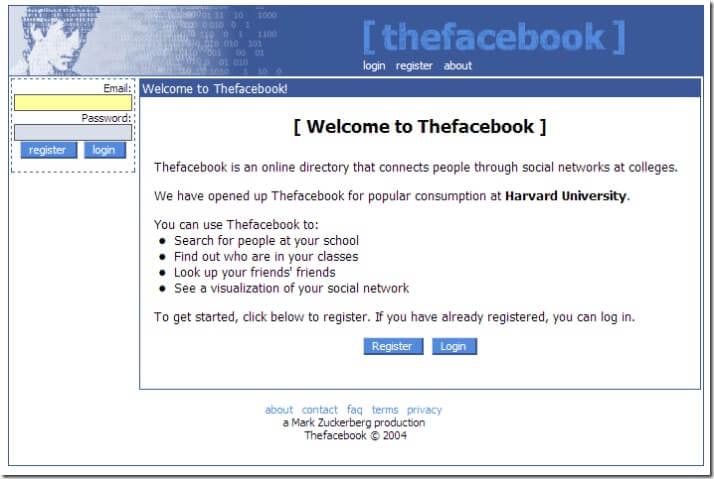 А вот так выглядел первый дизайн страницы. Вместо facebook, старое название было Thefacebook