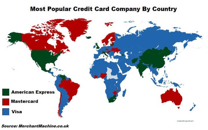 Самые популярные кредитные карты в странах