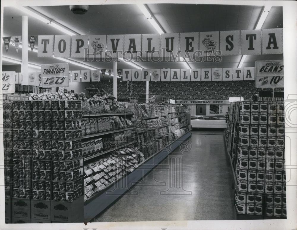 1955 год. Фото интерьера магазина Kroger