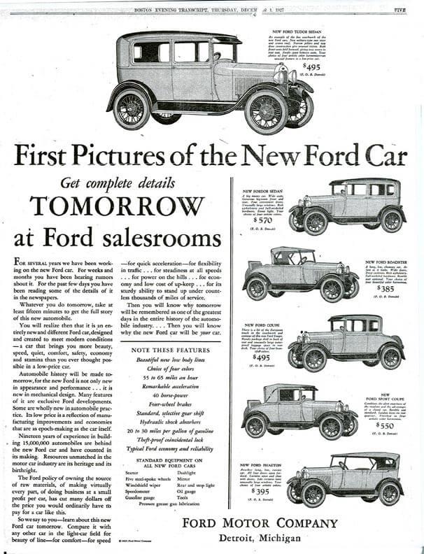 Первые рекламные объявления о продаже модели Форд Т по цене от $385 до $570 в зависимости от комплектации и размеров авто.