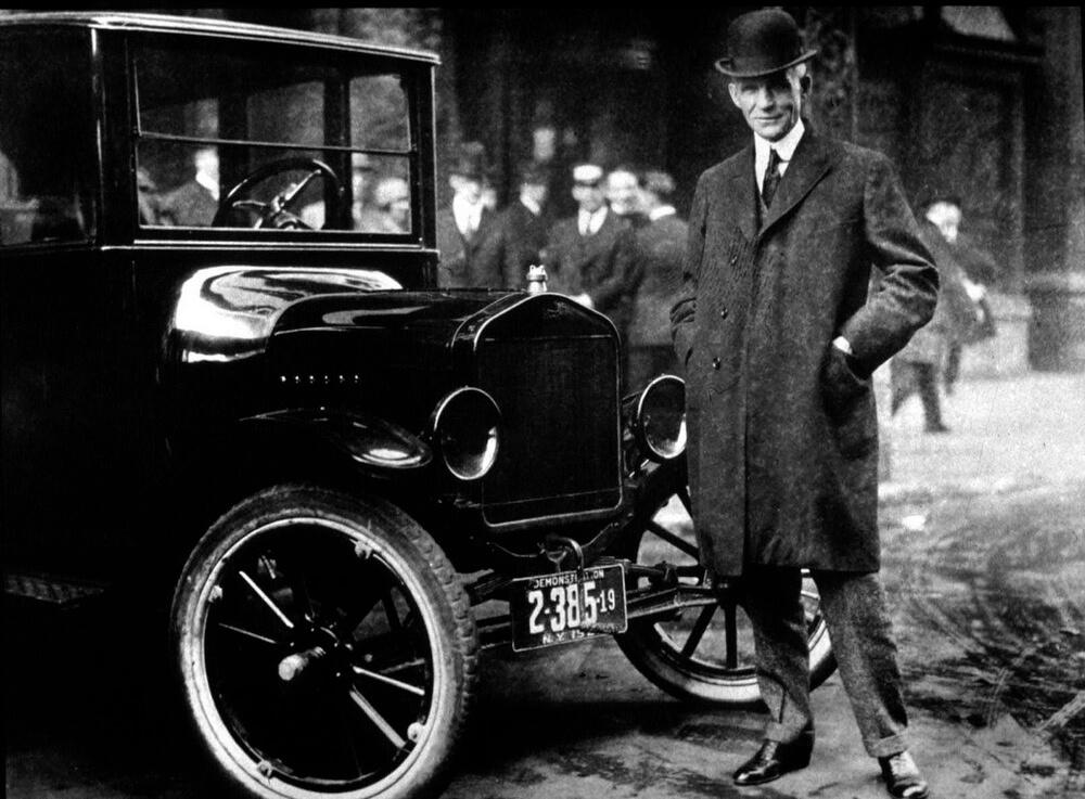 Генри Форд и его личный автомобиль Ford Model T, 1921 год