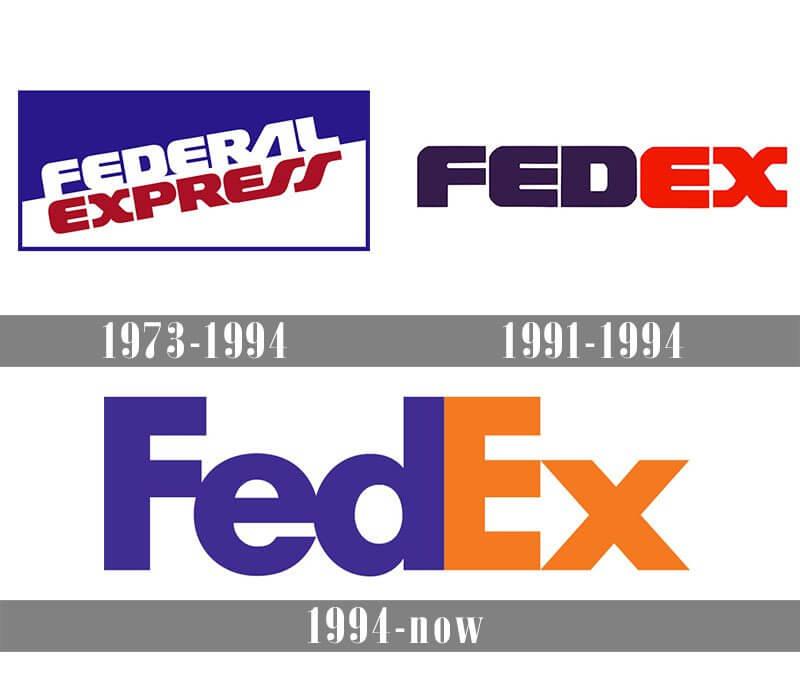 Как менялся логотип компании FedEd со временем.